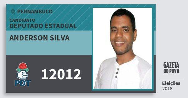 Santinho Anderson Silva 12012 (PDT) Deputado Estadual | Pernambuco | Eleições 2018