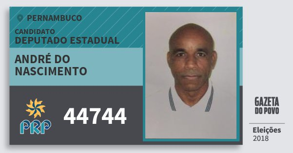 Santinho André do Nascimento 44744 (PRP) Deputado Estadual | Pernambuco | Eleições 2018
