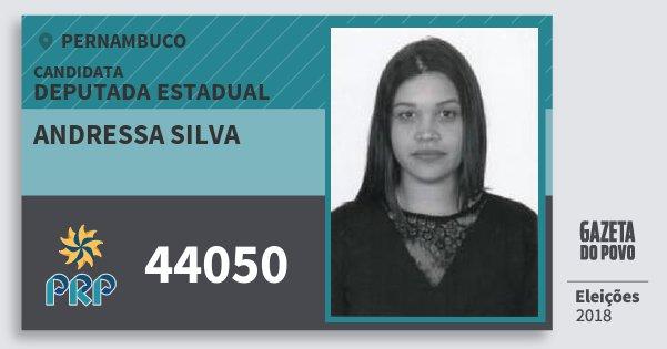 Santinho Andressa Silva 44050 (PRP) Deputada Estadual | Pernambuco | Eleições 2018