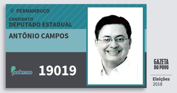 Santinho Antônio Campos 19019 (PODE) Deputado Estadual | Pernambuco | Eleições 2018