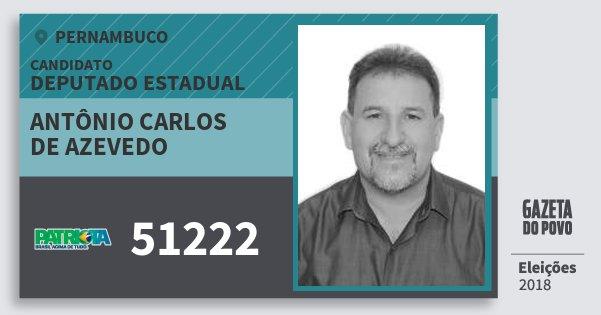 Santinho Antônio Carlos de Azevedo 51222 (PATRI) Deputado Estadual | Pernambuco | Eleições 2018