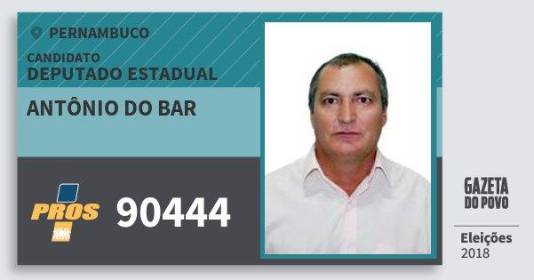 Santinho Antônio do Bar 90444 (PROS) Deputado Estadual | Pernambuco | Eleições 2018
