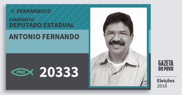 Santinho Antonio Fernando 20333 (PSC) Deputado Estadual | Pernambuco | Eleições 2018