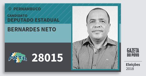 Santinho Bernardes Neto 28015 (PRTB) Deputado Estadual | Pernambuco | Eleições 2018