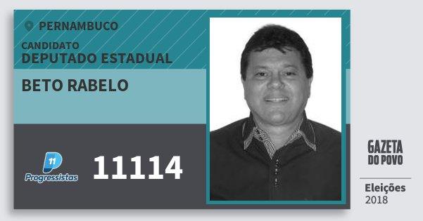 Santinho Beto Rabelo 11114 (PP) Deputado Estadual | Pernambuco | Eleições 2018