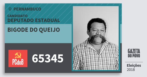 Santinho Bigode do Queijo 65345 (PC do B) Deputado Estadual | Pernambuco | Eleições 2018