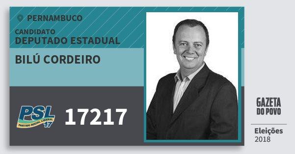 Santinho Bilú Cordeiro 17217 (PSL) Deputado Estadual | Pernambuco | Eleições 2018