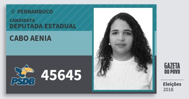 Santinho Cabo Aenia 45645 (PSDB) Deputada Estadual | Pernambuco | Eleições 2018