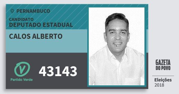Santinho Calos Alberto 43143 (PV) Deputado Estadual | Pernambuco | Eleições 2018