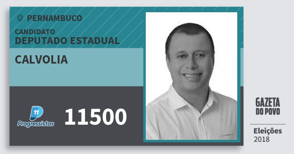 Santinho Calvolia 11500 (PP) Deputado Estadual | Pernambuco | Eleições 2018