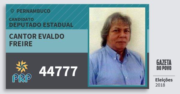 Santinho Cantor Evaldo Freire 44777 (PRP) Deputado Estadual | Pernambuco | Eleições 2018