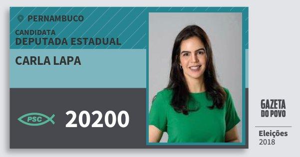 Santinho Carla Lapa 20200 (PSC) Deputada Estadual | Pernambuco | Eleições 2018