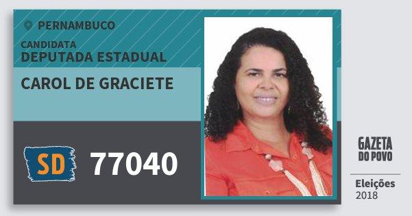 Santinho Carol de Graciete 77040 (SOLIDARIEDADE) Deputada Estadual | Pernambuco | Eleições 2018