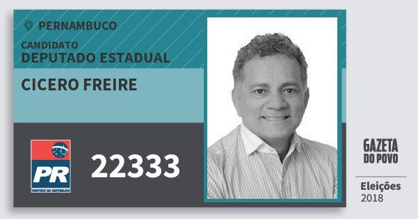 Santinho Cicero Freire 22333 (PR) Deputado Estadual | Pernambuco | Eleições 2018