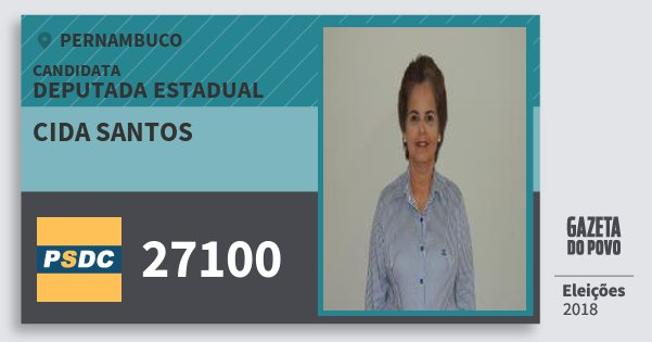 Santinho Cida Santos 27100 (DC) Deputada Estadual | Pernambuco | Eleições 2018