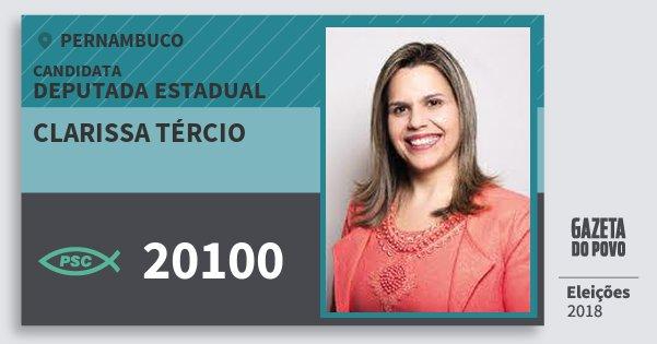 Santinho Clarissa Tércio 20100 (PSC) Deputada Estadual | Pernambuco | Eleições 2018