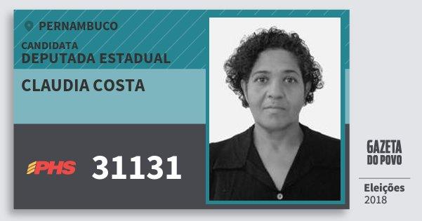Santinho Claudia Costa 31131 (PHS) Deputada Estadual | Pernambuco | Eleições 2018