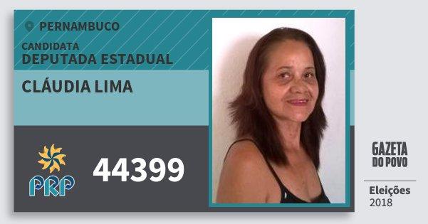 Santinho Cláudia Lima 44399 (PRP) Deputada Estadual | Pernambuco | Eleições 2018