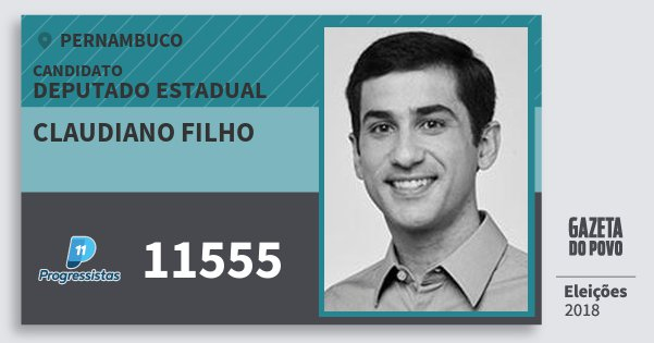 Santinho Claudiano Filho 11555 (PP) Deputado Estadual | Pernambuco | Eleições 2018