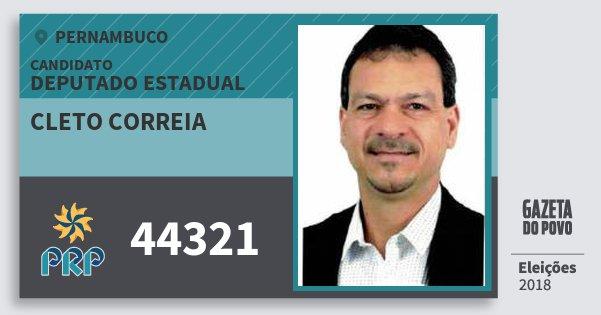 Santinho Cleto Correia 44321 (PRP) Deputado Estadual | Pernambuco | Eleições 2018