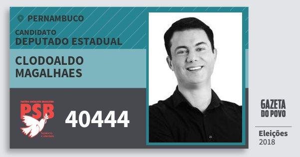 Santinho Clodoaldo Magalhaes 40444 (PSB) Deputado Estadual | Pernambuco | Eleições 2018