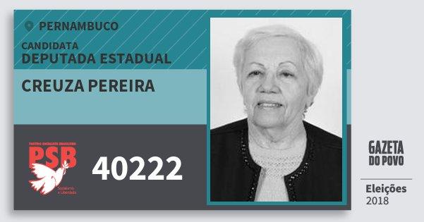 Santinho Creuza Pereira 40222 (PSB) Deputada Estadual | Pernambuco | Eleições 2018