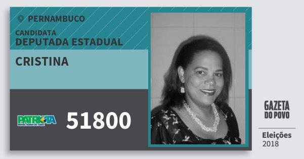 Santinho Cristina 51800 (PATRI) Deputada Estadual | Pernambuco | Eleições 2018