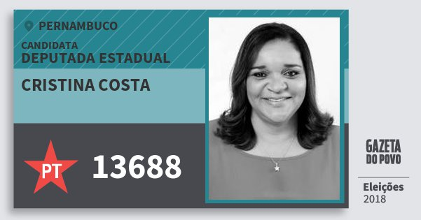 Santinho Cristina Costa 13688 (PT) Deputada Estadual | Pernambuco | Eleições 2018