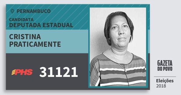 Santinho Cristina Praticamente 31121 (PHS) Deputada Estadual | Pernambuco | Eleições 2018