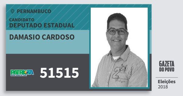 Santinho Damasio Cardoso 51515 (PATRI) Deputado Estadual | Pernambuco | Eleições 2018