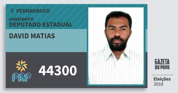 Santinho David Matias 44300 (PRP) Deputado Estadual | Pernambuco | Eleições 2018
