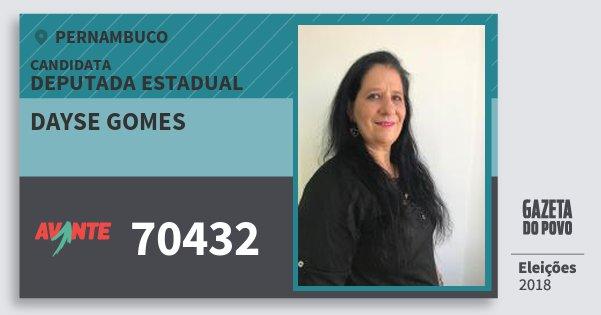 Santinho Dayse Gomes 70432 (AVANTE) Deputada Estadual | Pernambuco | Eleições 2018
