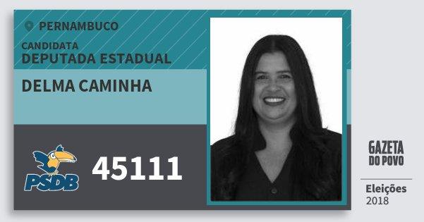 Santinho Delma Caminha 45111 (PSDB) Deputada Estadual | Pernambuco | Eleições 2018