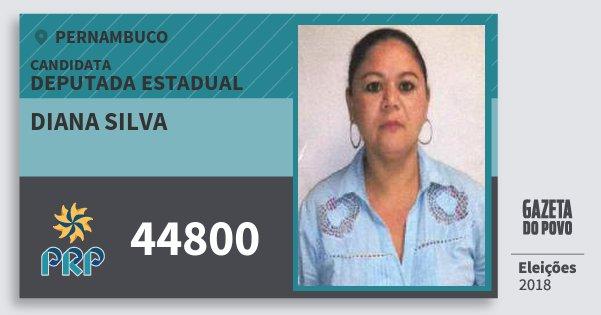 Santinho Diana Silva 44800 (PRP) Deputada Estadual | Pernambuco | Eleições 2018