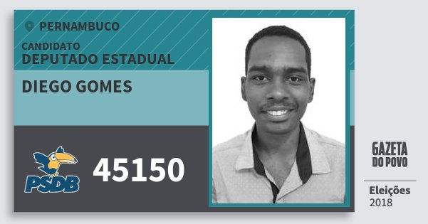 Santinho Diego Gomes 45150 (PSDB) Deputado Estadual | Pernambuco | Eleições 2018