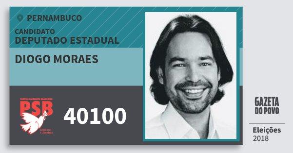 Santinho Diogo Moraes 40100 (PSB) Deputado Estadual   Pernambuco   Eleições 2018