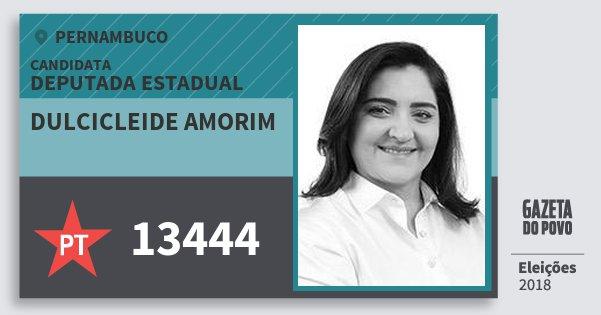 Santinho Dulcicleide Amorim 13444 (PT) Deputada Estadual | Pernambuco | Eleições 2018