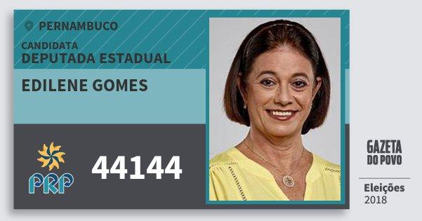 Santinho Edilene Gomes 44144 (PRP) Deputada Estadual | Pernambuco | Eleições 2018