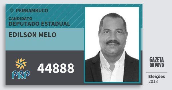 Santinho Edilson Melo 44888 (PRP) Deputado Estadual | Pernambuco | Eleições 2018