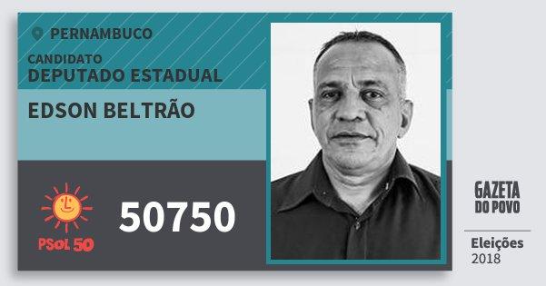 Santinho Edson Beltrão 50750 (PSOL) Deputado Estadual | Pernambuco | Eleições 2018