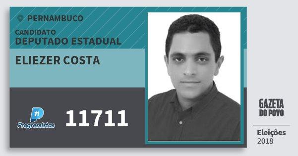 Santinho Eliezer Costa 11711 (PP) Deputado Estadual | Pernambuco | Eleições 2018