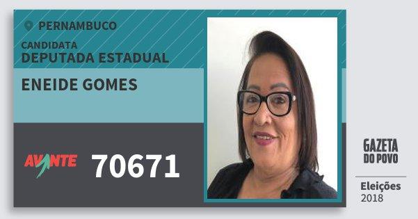 Santinho Eneide Gomes 70671 (AVANTE) Deputada Estadual   Pernambuco   Eleições 2018
