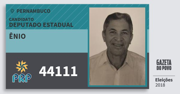 Santinho Ênio 44111 (PRP) Deputado Estadual | Pernambuco | Eleições 2018