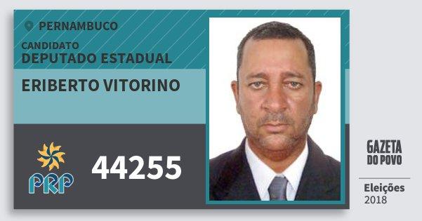 Santinho Eriberto Vitorino 44255 (PRP) Deputado Estadual | Pernambuco | Eleições 2018