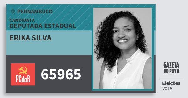 Santinho Erika Silva 65965 (PC do B) Deputada Estadual | Pernambuco | Eleições 2018