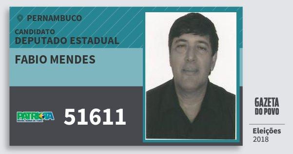 Santinho Fabio Mendes 51611 (PATRI) Deputado Estadual   Pernambuco   Eleições 2018