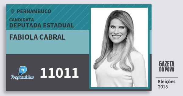 Santinho Fabiola Cabral 11011 (PP) Deputada Estadual | Pernambuco | Eleições 2018