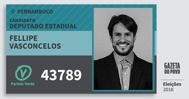 Santinho Fellipe Vasconcelos 43789 (PV) Deputado Estadual | Pernambuco | Eleições 2018