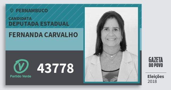Santinho Fernanda Carvalho 43778 (PV) Deputada Estadual | Pernambuco | Eleições 2018