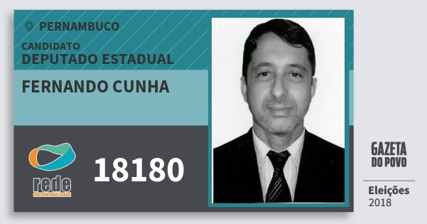 Santinho Fernando Cunha 18180 (REDE) Deputado Estadual | Pernambuco | Eleições 2018